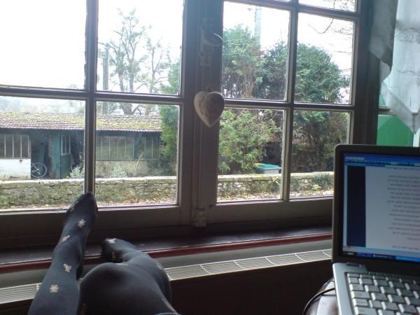 מחשב, גרביונים עם דובונים, רדיאטור ונוף מקומי
