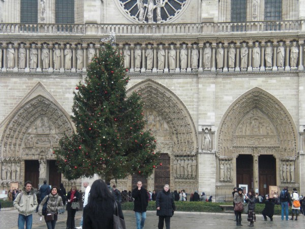 עץ האשוח הענק למרגלות הנוטרה-דאם. מעניין אם יחכו לנו שם מתנות