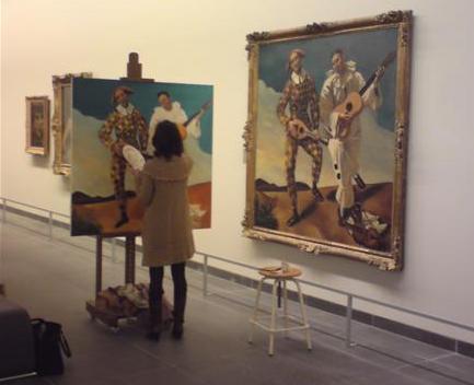 האורנג'רי. ציירת מעתיקה את הליצנים של André DERAIN